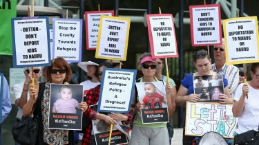 A rally for asylum seekers, including Australian-born children, to remain in Australia, at the High Court in Canberra.