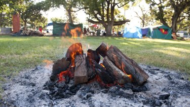 The Sacred Fire at the Musgrave park tent Embassy in March 2012.
