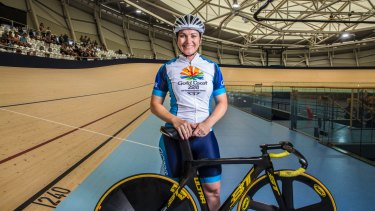 Olympic cyclist Anna Meares at the opening of the new velodrome named in her honour.