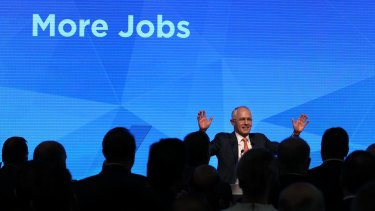 Prime Minister Malcolm Turnbull at the Liberal Party's 2016 federal election campaign launch.