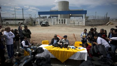 El Chapo lawyer Jose Luis Gonzalez Meza, centre, holds a press conference this month outside the Altiplano maximum security prison to announce he would begin a hunger strike in protest over the drug lord's treatment inside the Mexican prison.