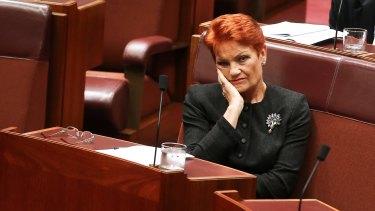 Senator Pauline Hanson during question time on Thursday.