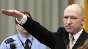 Breivik makes a Nazi salute as he enters a courtroom on March 15.