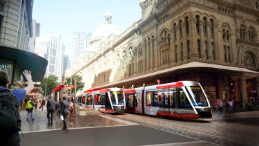 An artist's impression of the city leg of the planned eastern suburbs light rail line.