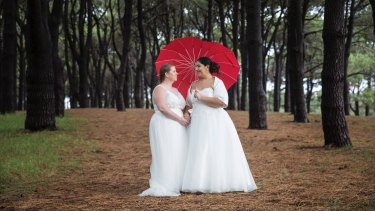 Kylie and Lisa Caro were married at Centennial Park on Tuesday.
