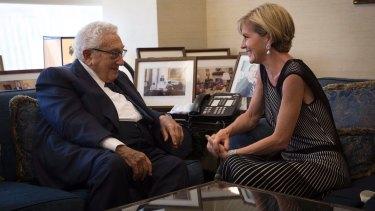 Foreign Minister Julie Bishop meets with former US secretary of state Henry Kissinger.