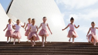 Young ballerinas gather at the Sydney Opera House to promote the Australian Ballet's new program designed for children.