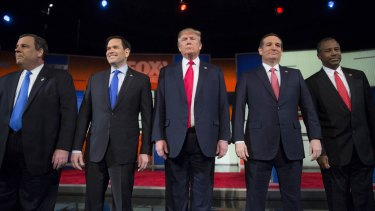 Republican presidential candidates, from left, New Jersey Governor Chris Christie, Senator Marco Rubio, Donald Trump, Senator Ted Cruz and retired neurosurgeon Ben Carson.