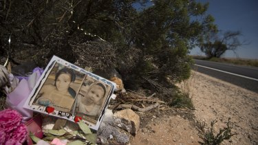 A memorial to Karlie Pearce-Stevenson and her daughter Khandalyce Pearce at the roadside, near Wynarka, South Australia.