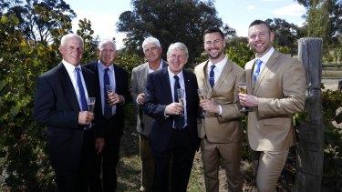From left: Peter Mortimer, Glenn Mortimer, Chris Mortimer and Steve Mortimer with his son Matt and Matt's partner Jason at Orange.