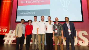 CeBIT PitchFest winners with the judges, from left: Raj Dalal, principal BigInsights and president of TiE Sydney; Maureen Murphy, commercialisation adviser, Accelerating Commercialisation; Look Who's Charging co-founders David Washbrook, Stuart Grover and Nicole Grover; James Cameron, partner at AirTree VC; and Nitin Singhi, director at TiE Sydney