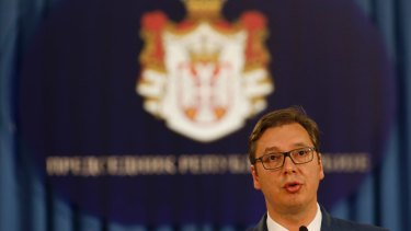 Serbia's President Aleksandar Vucic speaks during a press conference where he announced Ana Brnabic as the country's next prime minister in Belgrade on Thursday.