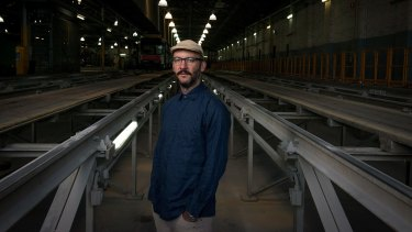 Video artist Daniel Crooks at the East Preston Tram Depot, one of the sites where he shot Phantom Ride.