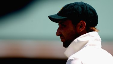 Phillip Hughes watches from the boundary during the third Ashes Test at the WACA in 2010.