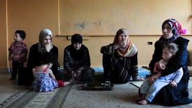 Syrian refugees in a school in Baalbek in Lebanon's Bekaa Valley.