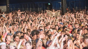 A crowd inside the Grand Theatre at the Falls Festival.