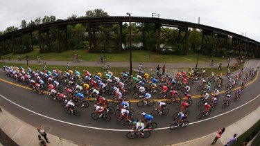 Cat's eye view: The peloton passes through the streets of Richmond during the World Road Championships.