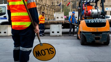 Concrete bollards will be in Federation Sqaure and Bourke Street Mall this weekend.
