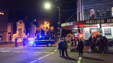 The scene of a terrorism raid in Surry Hills.