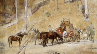 In Tom Roberts' Bailed Up the hold-up unfolds in the most laconic fashion, in a blaze of sunshine. The leader of the bandits seems to be yarning with the passenger in the coach. There is hardly an iota of drama.