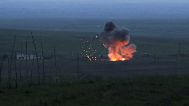 An explosion of a downed Azerbaijani drone in the separatist region of Nagorno-Karabakh, Azerbaijan.