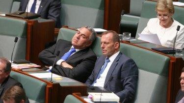 Former treasurer Joe Hockey and former prime minister Tony Abbott on the backbench.