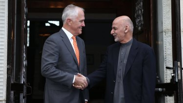 Prime Minister Malcolm Turnbull is greeted by the President of Afghanistan,  Ashraf Ghani.