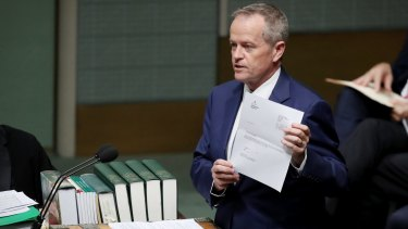 Opposition Leader Bill Shorten tables his renunciation certificate.