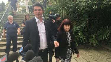 Scott Ludlam arrives at the surprise press conference in Perth on Friday to announce his resignation.