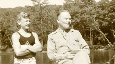 A young Buzz Aldrin with his father, Edwin.