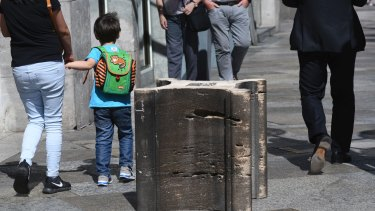 Stone blocks placed near Cologne cathedral to prevent attacks on tourists in the square.