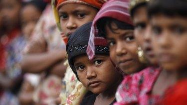 Rohingya Muslim children at a refugee camp outside Sittwe, Myanmar.