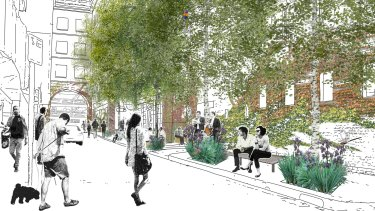 An artists impression of how a greened-up Katherine Place will look.