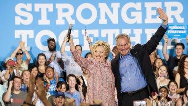 Hillary Clinton, presumptive 2016 Democratic presidential nominee, with Senator Tim Kaine in Virginia last week.
