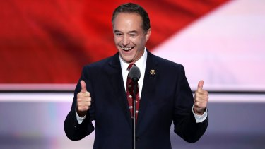 Chris Collins, pictured nominating Donald Trump as the Republican presidential candidate in 2016, lost $22 million on paper when Innate tanked.