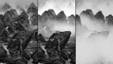 Stills from Yang Yongliang's video Rising Mist showing city scenes merged into Chinese mountains gradually dissolving to white as pollution takes over.
