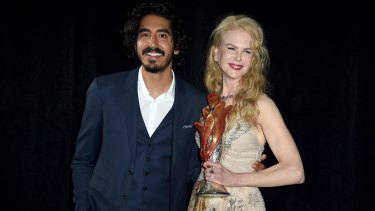 Nicole Kidman, winner of the international star award for <i>Lion</i>, and presenter Dev Patel backstage at the 28th annual Palm Springs International Film Festival Awards Gala on January 2. Both are nominated for Golden Globes for their work in the film.