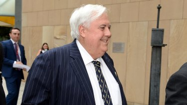 Clive Palmer was all smiles on Thursday morning as he entered court.