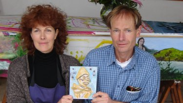 Sean Davison and his sister Mary, in front of their mother's coffin in October 2006.