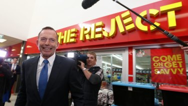 Prime Minister Tony Abbott during his visit to a shopping centre in Canberra on Thursday.