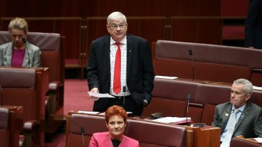One Nation senator Brian Burston speaks in the Senate.