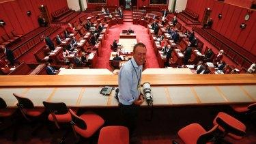 Veteran Walkley-award winning Fairfax Media photographer Andrew Meares in the Senate on Thursday.