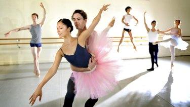 Dancers rehearse in the Primrose Potter Australian Ballet Centre in Melbourne.