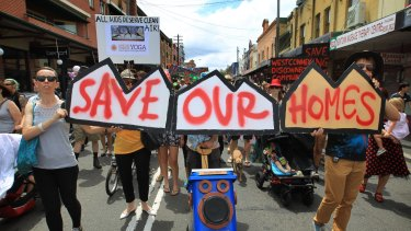 Potential voters: Newtown residents take to the streets to protest against the tunnel.