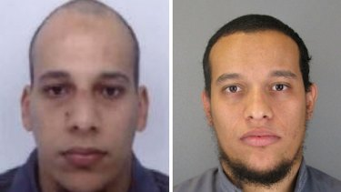 Died in shootout with police in Dammartin ... Photos released by French police showing terrorist suspects Cherif Kouachi (left) and his brother Said.
