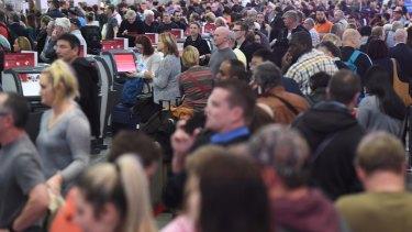 <i>Huge queues at Sydney Airport.</i>