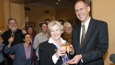 Christine Milne with Senator Bob Brown after  Christine Milne won her Senate seat in 2004.