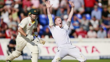 England's Ben Stokes unsuccessfully appeals for Australia's Shane Watson to be given out leg-before on day two of the first Ashes Test in Cardiff.