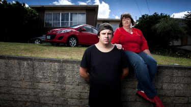 Dianne Barker and her son Ashley, who received support from a psychologist while he was at school in Geelong.