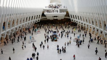 Crowds were evacuated from the Oculus mall inside the World Trade Centre on Sunday.